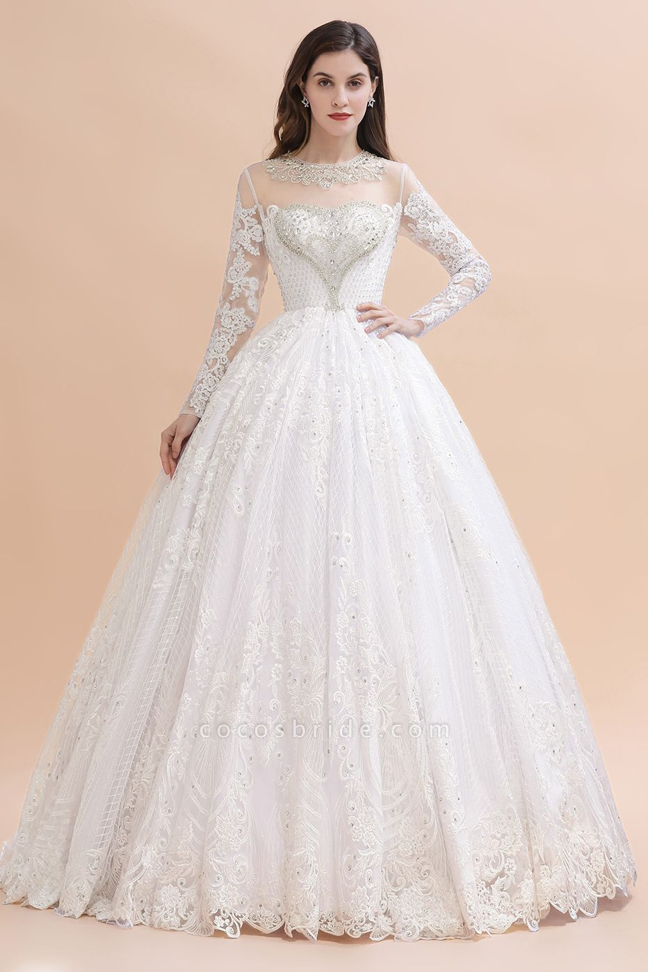Long Sleeve Lace Crystal Beads Sheer Tulle Wedding Dress