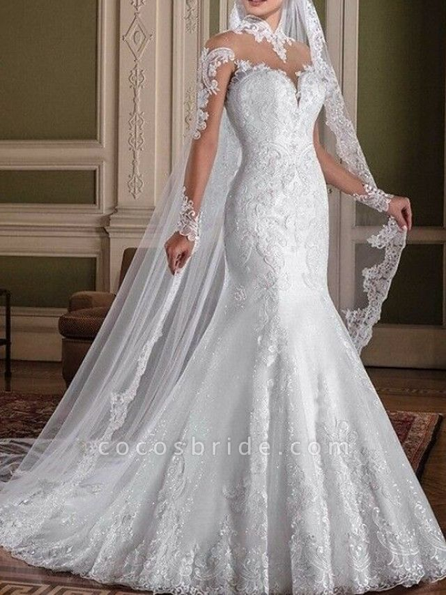 Mermaid \ Trumpet Wedding Dresses High Neck Sweep \ Brush Train Lace Long Sleeve Sexy See-Through Illusion Sleeve