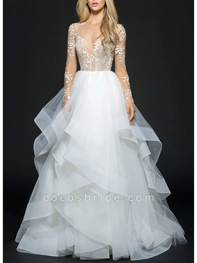 Ball Gown Wedding Dresses V Neck Floor Length Organza Long Sleeve Illusion Sleeve