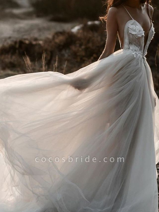 A-Line Wedding Dresses Spaghetti Strap Plunging Neck Sweep \ Brush Train Lace Tulle Sleeveless Beach Sexy See-Through