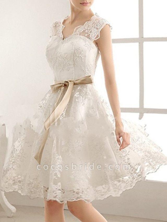 A-Line Wedding Dresses V Neck Knee Length Lace Sleeveless Vintage Little White Dress 1950s