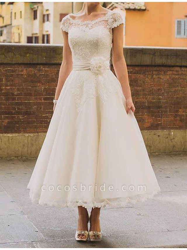 A-Line Wedding Dresses Jewel Neck Ankle Length Polyester Short Sleeve Vintage Plus Size