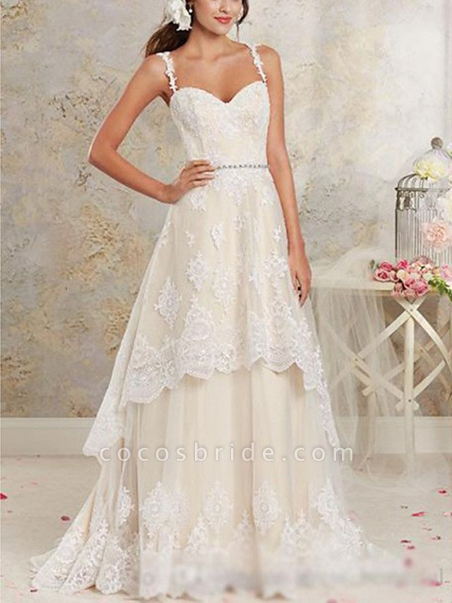 A-Line Wedding Dresses Sweetheart Neckline Sweep \ Brush Train Asymmetrical Lace Tulle Lace Over Satin Spaghetti Strap Cute