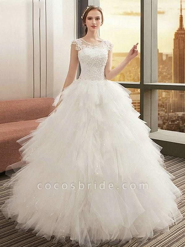O Neck Appliques Bridal Gown Bohemian Long Lace Up Wedding Dress