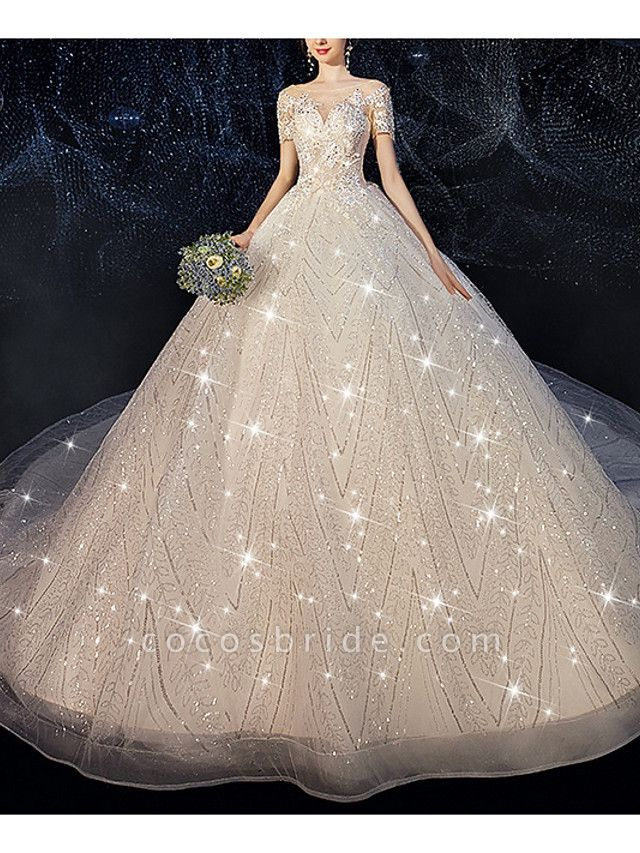 Ball Gown Jewel Neck Court Train Sequined Polyester Short Sleeve Wedding Dresses