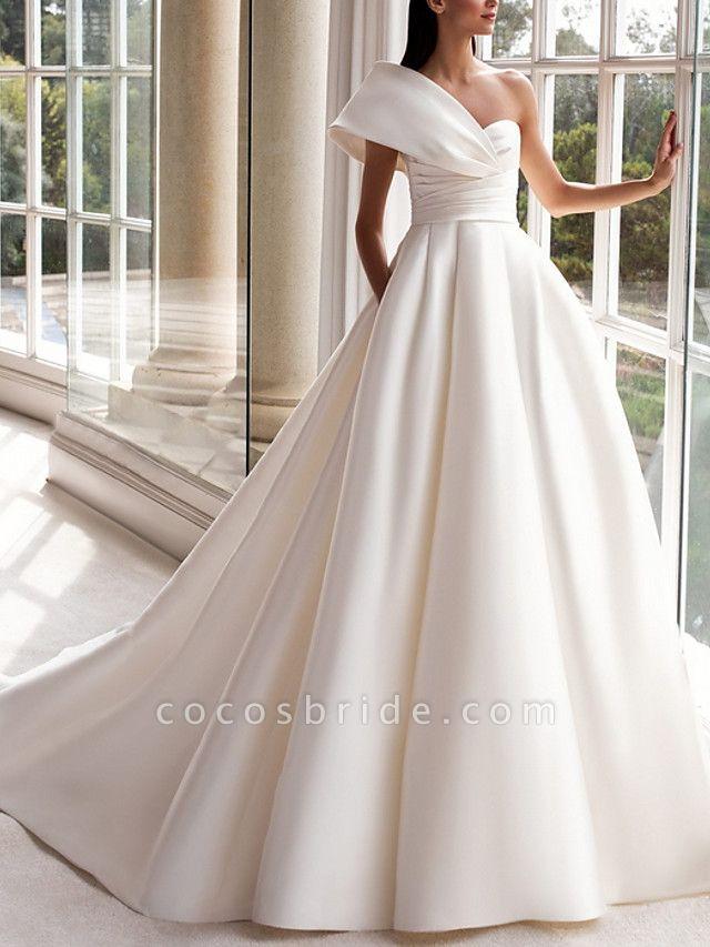 A-Line Wedding Dresses One Shoulder Sweep \ Brush Train Satin Short Sleeve Plus Size Modern