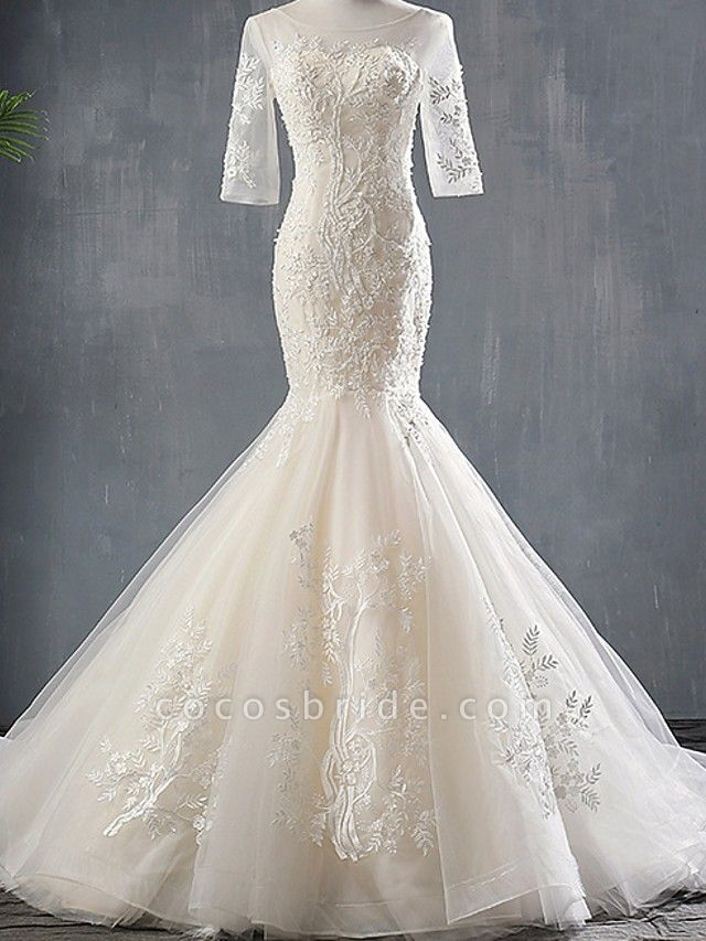 Mermaid \ Trumpet Wedding Dresses Jewel Neck Sweep \ Brush Train Polyester Half Sleeve