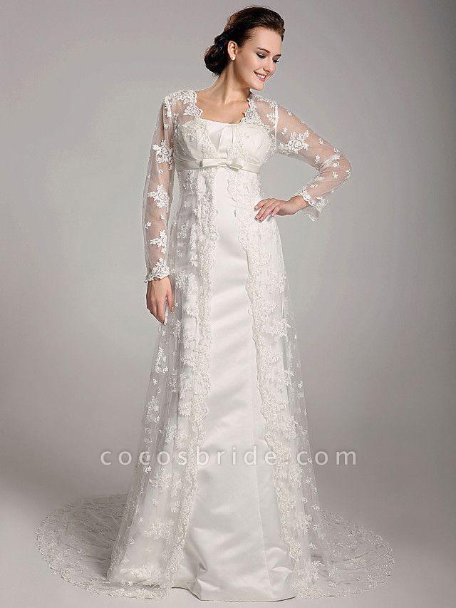 Sheath \ Column Wedding Dresses Square Neck Sweep \ Brush Train Lace Satin Long Sleeve