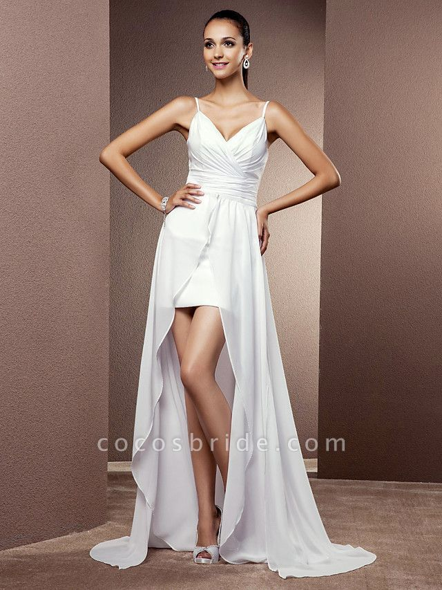Sheath \ Column Wedding Dresses V Neck Asymmetrical Chiffon Sleeveless