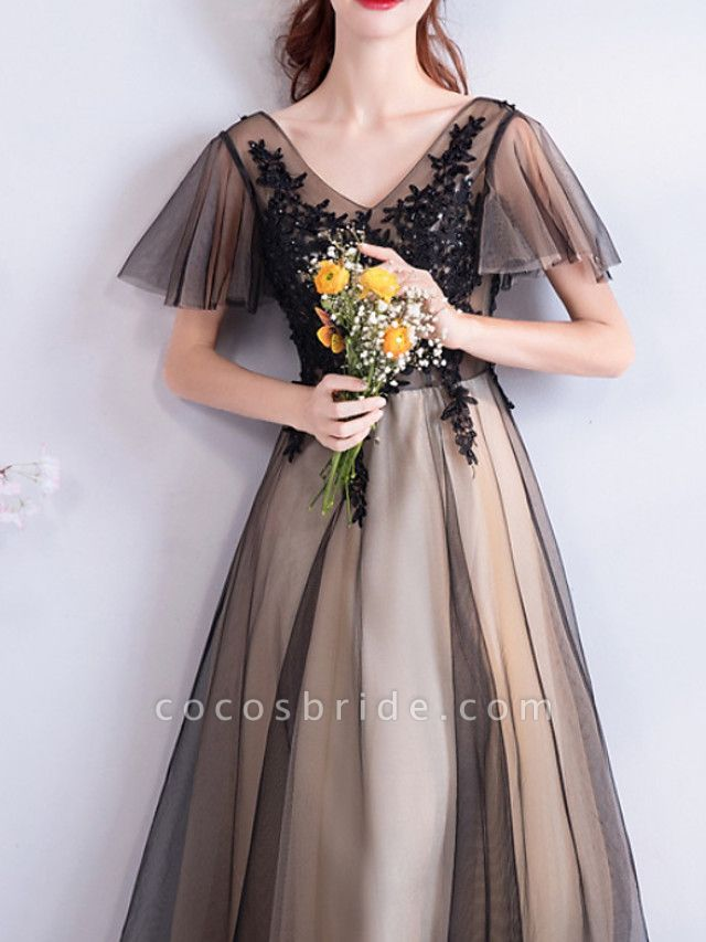 A-Line Wedding Dresses V Neck Floor Length Lace Tulle Short Sleeve Formal Black