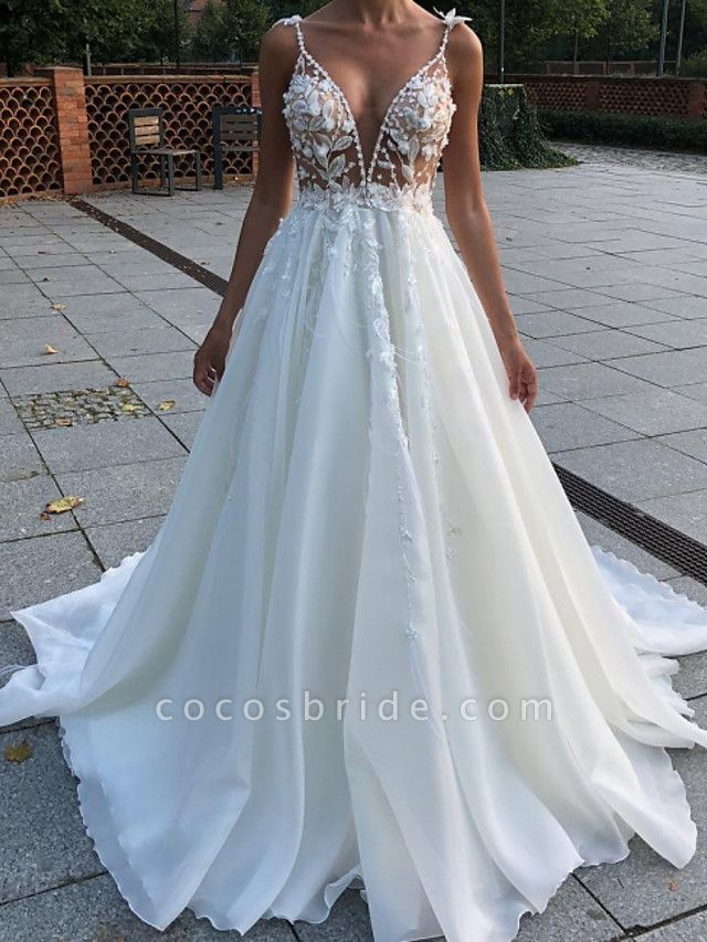 A-Line Wedding Dresses V Neck Spaghetti Strap Sweep \ Brush Train Lace Sleeveless Country Plus Size