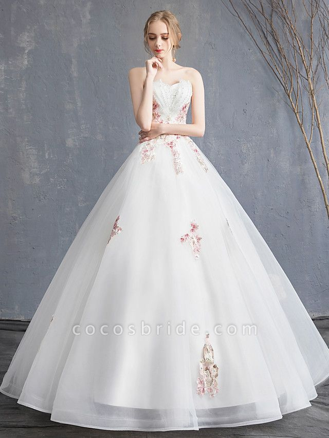 A-Line Wedding Dresses Strapless Maxi Lace Organza Tulle Strapless Country Romantic Sparkle & Shine