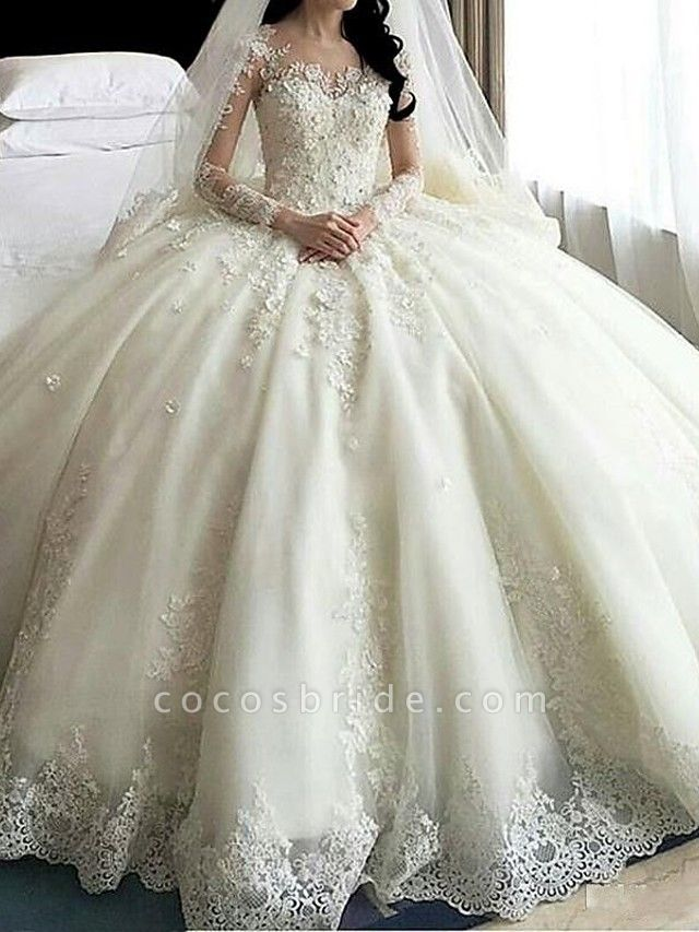 A-Line Wedding Dresses Scoop Neck Court Train Organza Long Sleeve Sexy Wedding Dress in Color