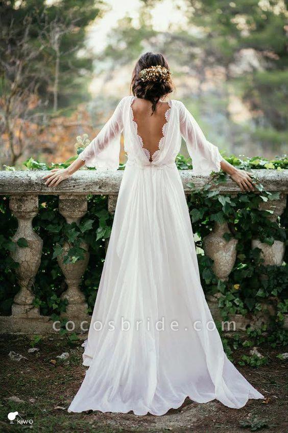 Sexy 3/4 Sleeves and Backless Long Chiffon Beach Wedding Dress