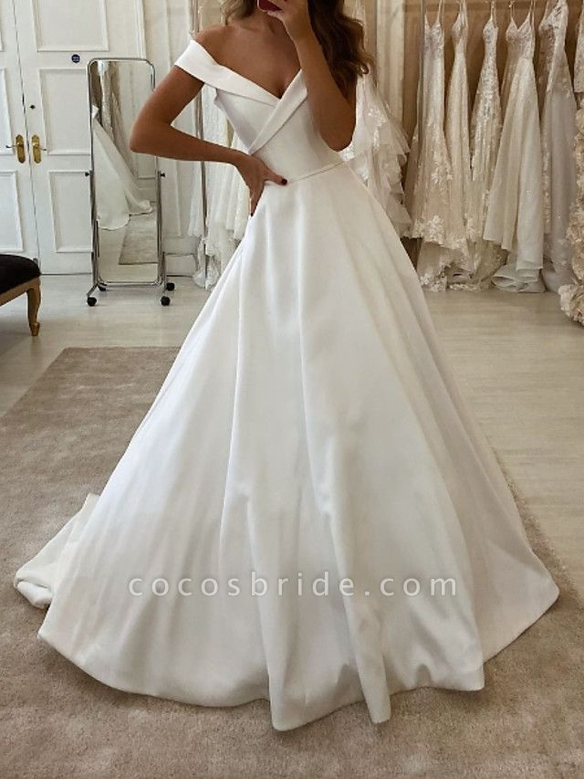 A-Line Wedding Dresses V Neck Sweep \ Brush Train Polyester Short Sleeve Country Plus Size