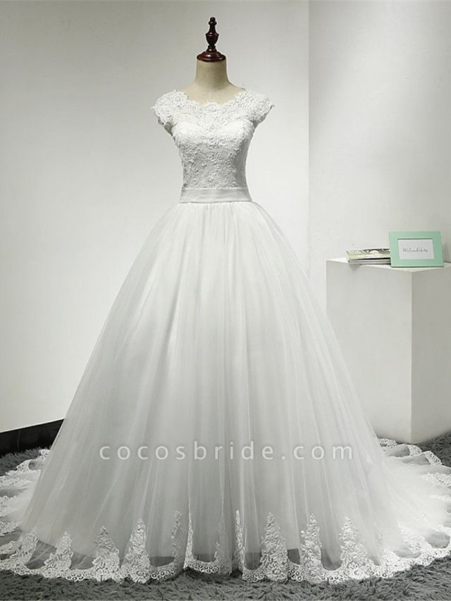 Ball Gown Wedding Dresses Scoop Neck Chapel Train Lace Over Tulle Cap Sleeve Glamorous Illusion Detail