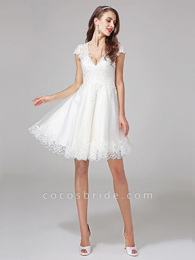 A-Line Wedding Dresses V Neck Knee Length Lace Over Tulle Cap Sleeve Formal Casual Illusion Detail Backless