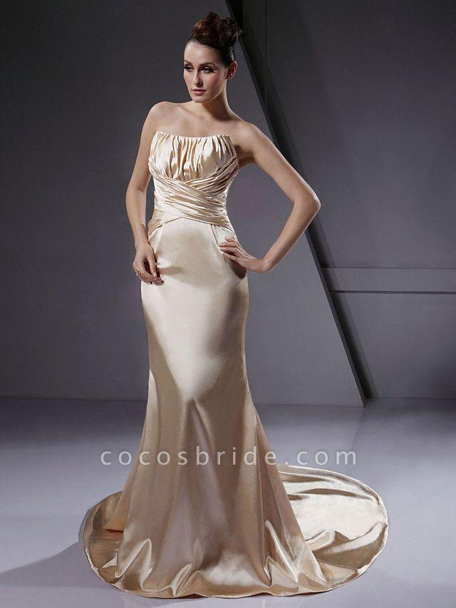 Mermaid \ Trumpet Wedding Dresses Strapless Court Train Stretch Satin Sleeveless Wedding Dress in Color