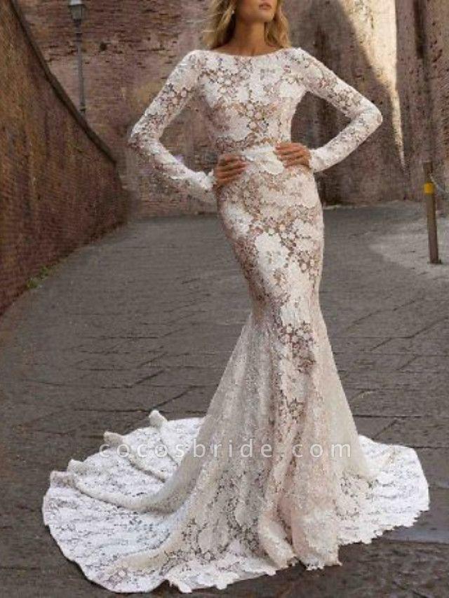 Mermaid \ Trumpet Wedding Dresses Bateau Neck Sweep \ Brush Train Lace Long Sleeve Romantic Boho See-Through Illusion Sleeve