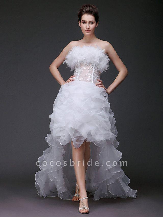Ball Gown Strapless Sweep \ Brush Train Asymmetrical Organza Sleeveless Wedding Dresses