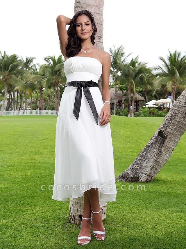 A-Line Wedding Dresses Strapless Tea Length Chiffon Strapless Formal Casual Little White Dress