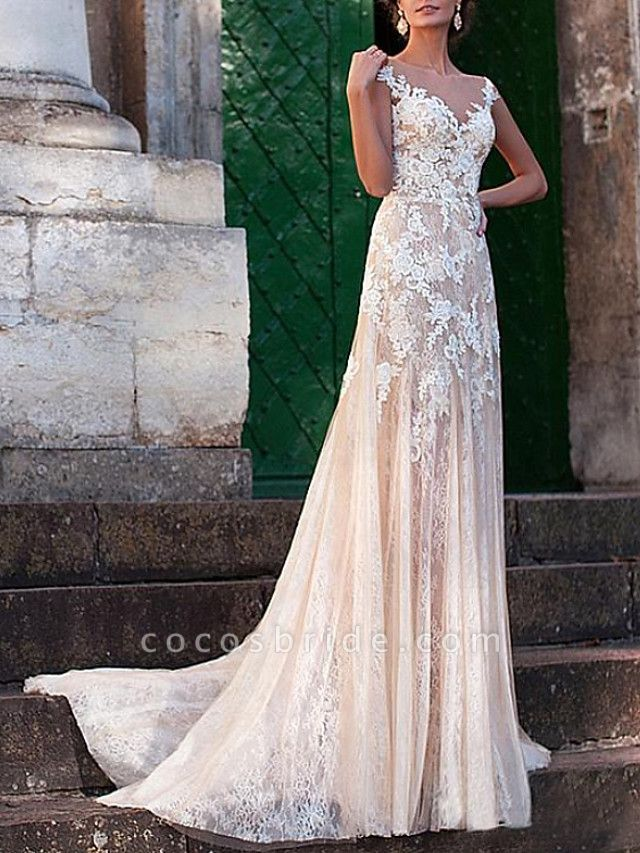 A-Line Jewel Neck Sweep \ Brush Train Lace Tulle Cap Sleeve Sexy See-Through Backless Wedding Dresses