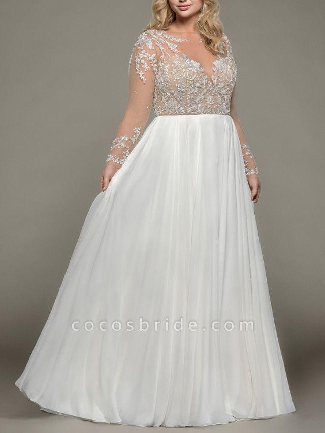 A-Line Wedding Dresses Bateau Neck Floor Length Satin Tulle Long Sleeve Romantic Plus Size Illusion Sleeve