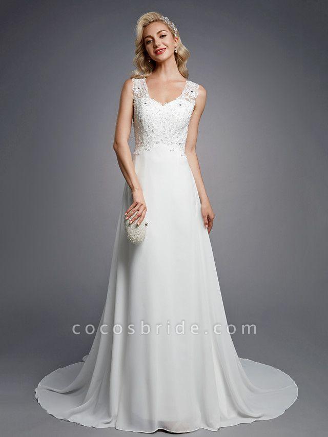 A-Line Wedding Dresses V Neck Floor Length Chiffon Lace Regular Straps Sexy