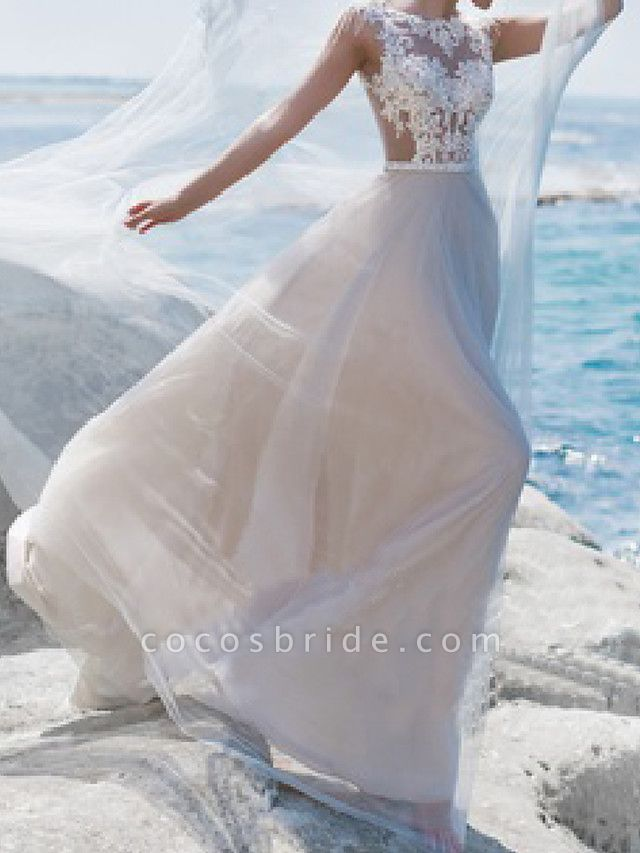 A-Line Wedding Dresses Jewel Neck Sweep \ Brush Train Lace Tulle Short Sleeve Beach Sexy See-Through
