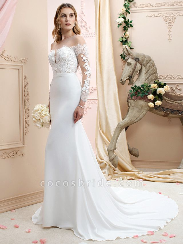 Mermaid \ Trumpet Wedding Dresses Bateau Neck Court Train Chiffon Corded Lace Long Sleeve Romantic Sexy See-Through Backless Illusion Sleeve