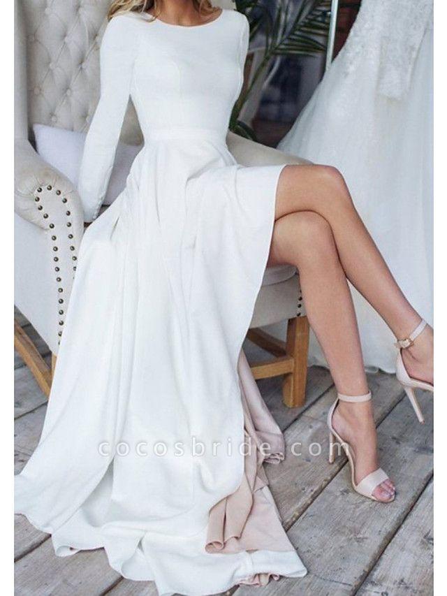 A-Line Wedding Dresses Jewel Neck Sweep \ Brush Train Chiffon Over Satin Long Sleeve Simple Modern