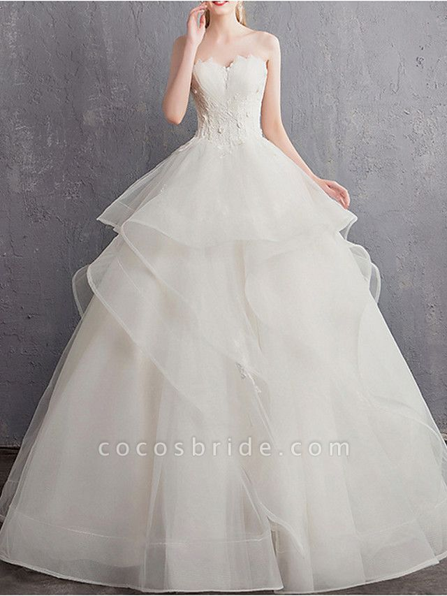 A-Line Wedding Dresses Strapless Floor Length Tulle Regular Straps