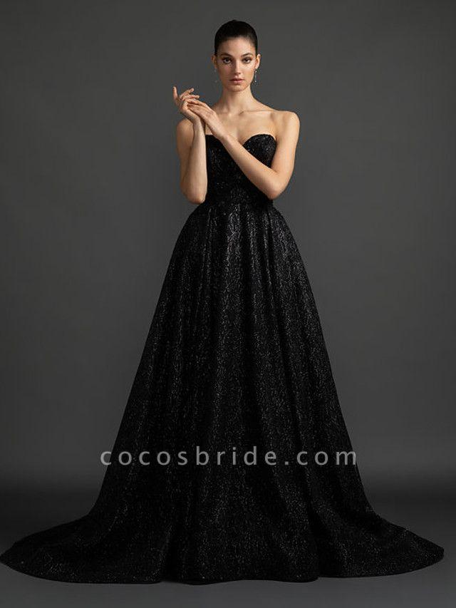 A-Line Wedding Dresses Sweetheart Neckline Court Train Satin Sequined Strapless Black Modern