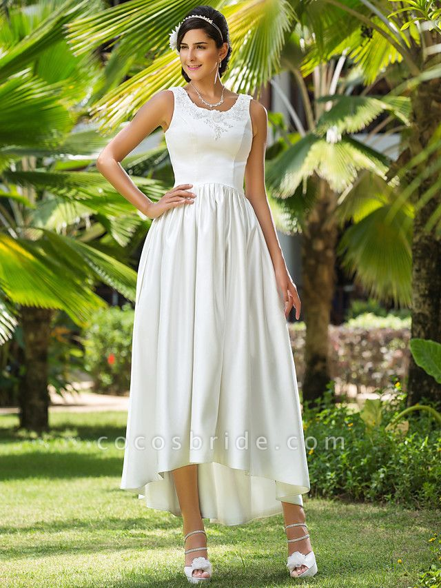 Princess A-Line Wedding Dresses Scoop Neck Asymmetrical Satin Sleeveless