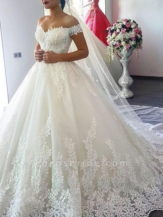 A-Line Off Shoulder Court Train Lace Cap Sleeve Wedding Dresses