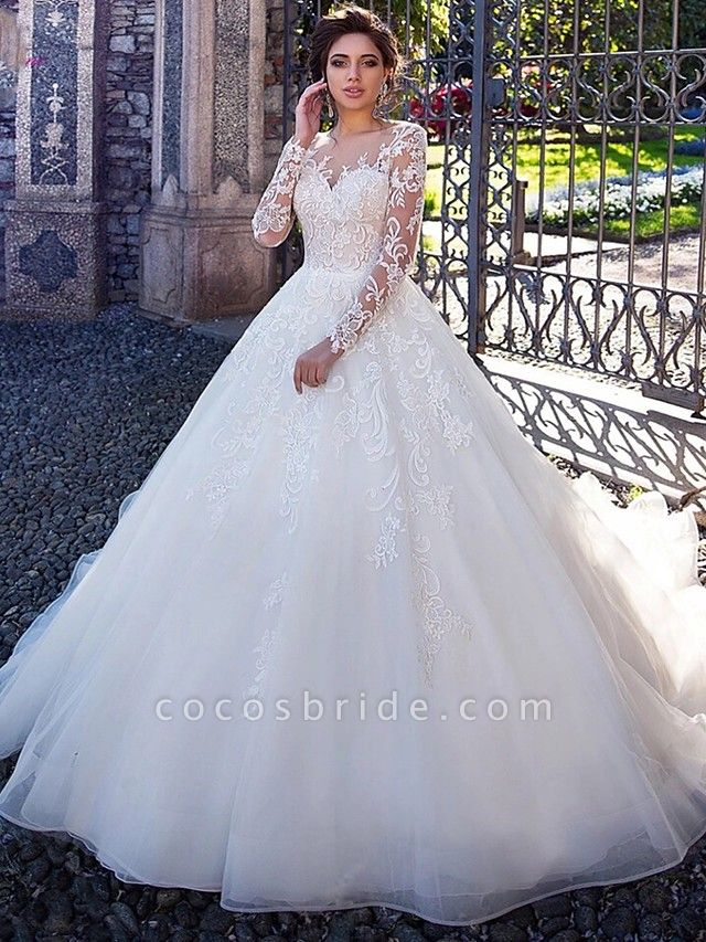 Ball Gown Jewel Neck Court Train Lace Tulle Long Sleeve Plus Size Illusion Sleeve Wedding Dresses