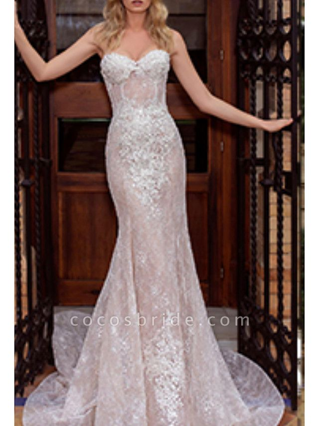 Mermaid \ Trumpet Wedding Dresses Strapless Court Train Lace Strapless