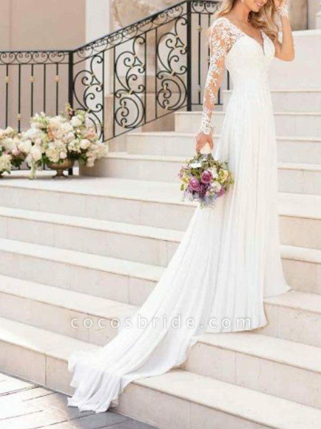 A-Line Wedding Dresses V Neck Sweep \ Brush Train Chiffon Lace Long Sleeve Romantic Illusion Sleeve