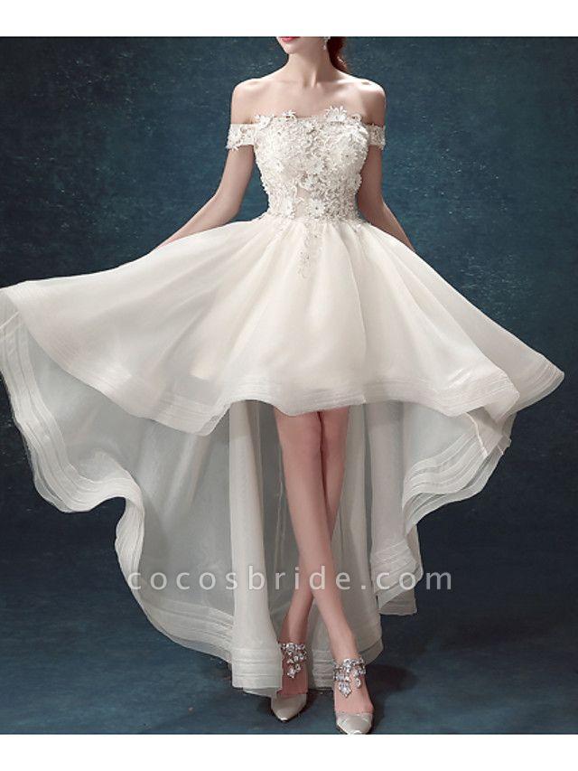 A-Line Wedding Dresses Off Shoulder Asymmetrical Chiffon Tulle Sleeveless Formal Illusion Detail Plus Size