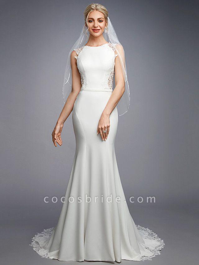 Mermaid \ Trumpet Wedding Dresses Bateau Neck Court Train Chiffon Lace Regular Straps Sexy Illusion Detail Backless