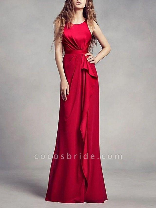 A-Line Wedding Dresses Jewel Neck Floor Length Satin Regular Straps Romantic Plus Size Black Red