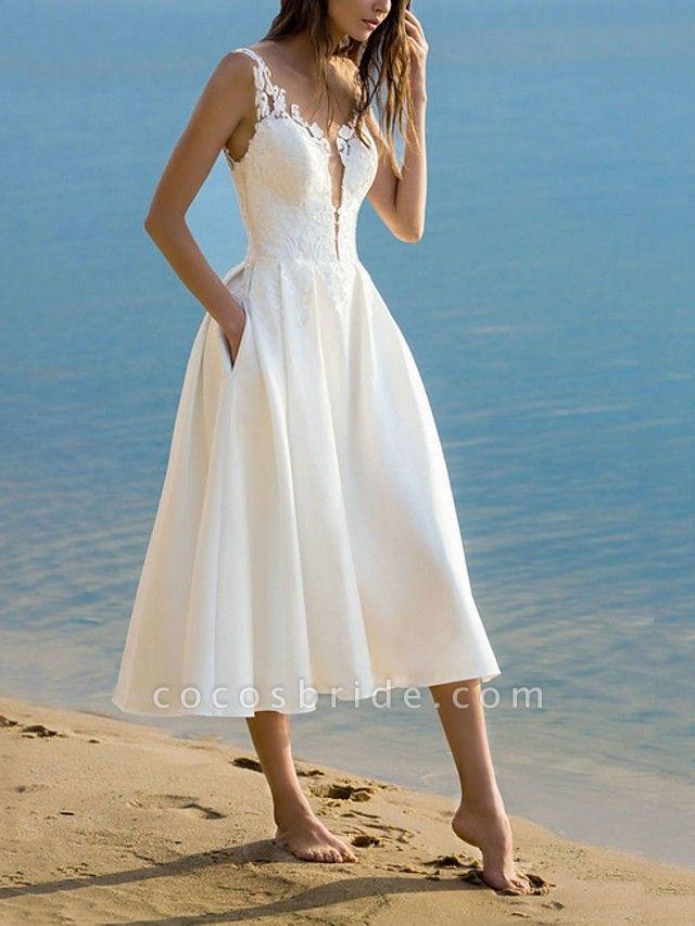 Lt7950340 Simple Tea Length Boho Wedding Dress