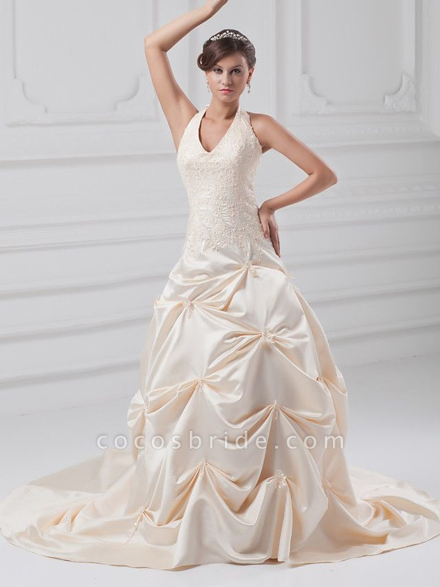 A-Line Halter Neck Chapel Train Lace Satin Regular Straps Wedding Dresses