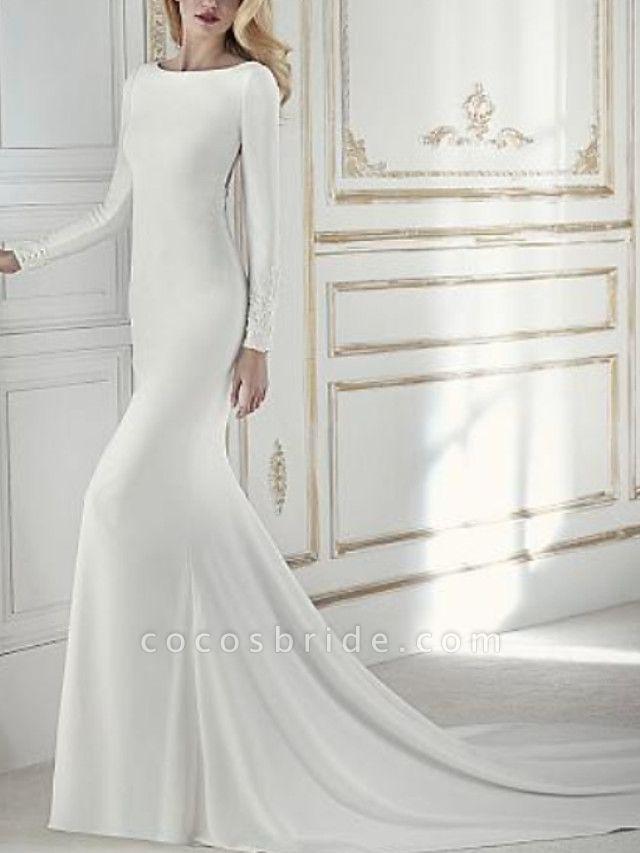 Sheath \ Column Wedding Dresses Jewel Neck Court Train Chiffon Long Sleeve