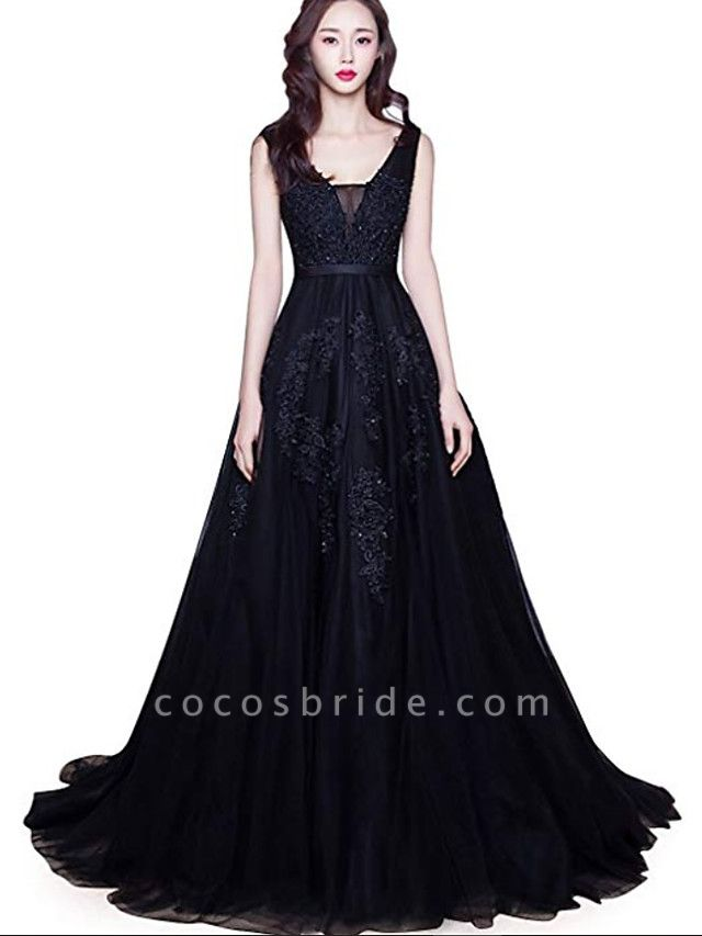 A-Line V Neck Court Train Lace Tulle Regular Straps Black Wedding Dresses