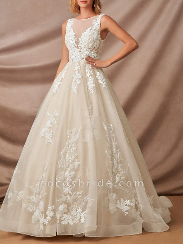 Mermaid \ Trumpet Jewel Neck Chapel Train Lace Sleeveless Formal Wedding Dresses