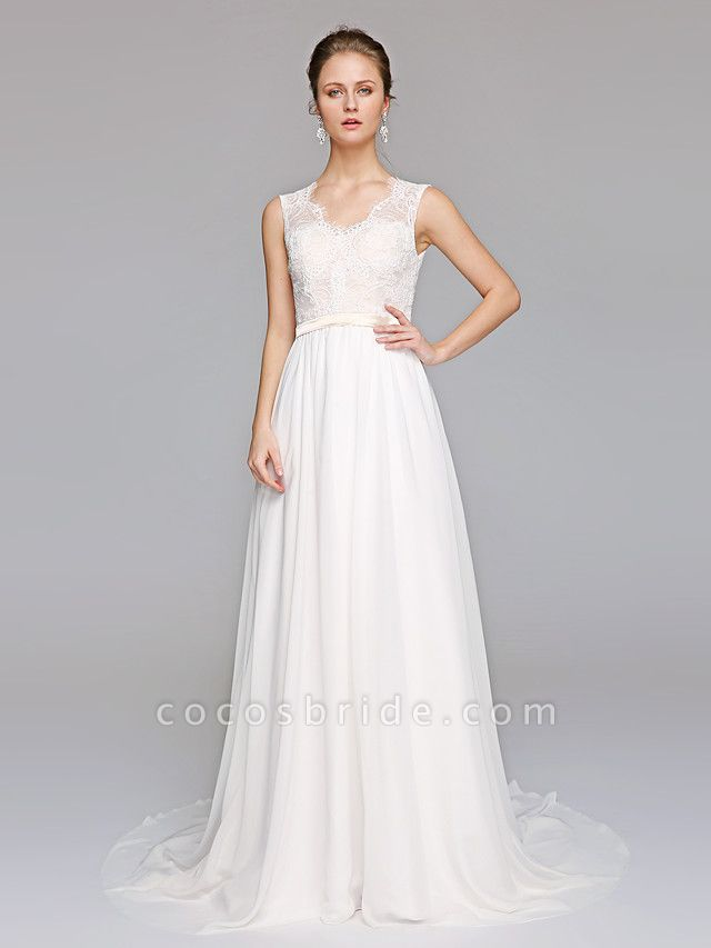 A-Line Wedding Dresses V Neck Court Train Chiffon Lace Bodice Regular Straps Simple Illusion Detail Backless