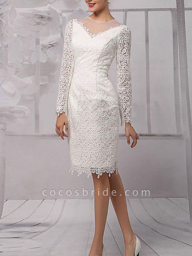 Sheath \ Column Wedding Dresses Jewel Neck Knee Length Lace Tulle Long Sleeve Vintage 1950s