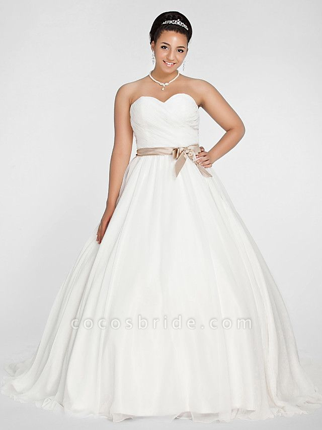 Ball Gown Wedding Dresses Sweetheart Neckline Court Train Chiffon Strapless Simple Vintage Plus Size Backless Cute