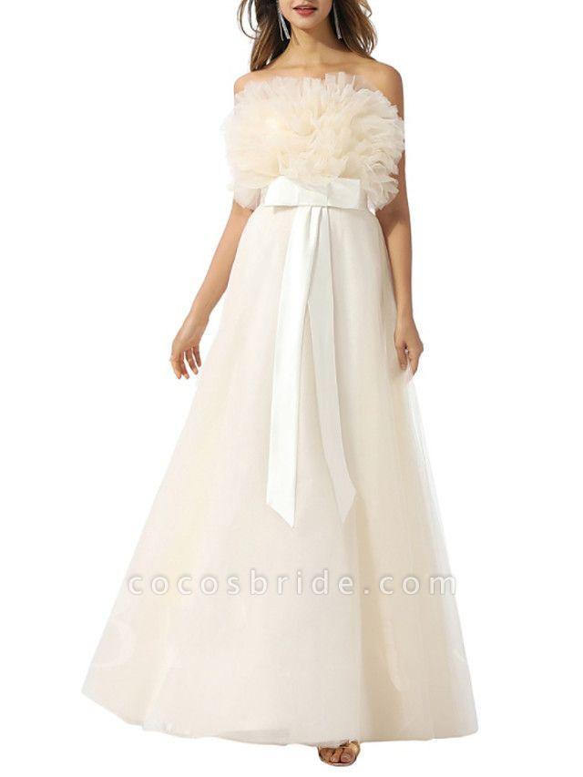 A-Line Wedding Dresses Strapless Floor Length Tulle Chiffon Over Satin Sleeveless Vintage